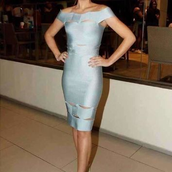 Factory Dress Gray Slash Neck Hollow Out Tight Leisure Woman Cocktail Party Bandage Dress (L2240)