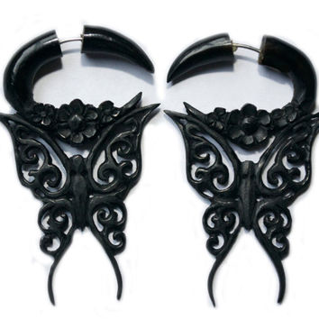 Continue on SALE by customers request, Butterfly, Horn fake gauge, organic earring, tribal butterfly design
