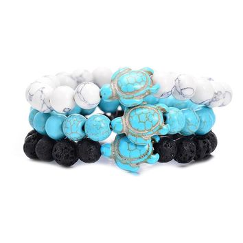 Summer Style Sea Turtle Beads Classic 8MM Blue Natural Stone Elastic Friendship Bracelet