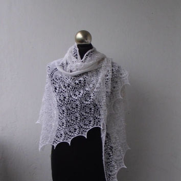 White beaded hand knitted merino lace shawl with nupps,bridal cover up, knitted wedding shawl, bridal beaded shawl