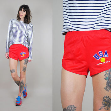 "vtg 80's USA ""Go for the GOLD"" running shorts racer Tennis triathlon Sprinter mini Hot shorts"