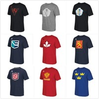 World Cup of Canada/Europe/Finland/North America/Russia/Sweden/  Hockey Distressed LOGOTriBlend mens short sleeve T Shirt Size:S-4XL