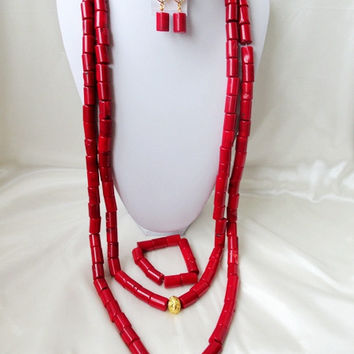 The Latest Red  Beaded Coral Necklace Bracelet Nigerian African Wedding Coral Beads Bridal Jewelry Sets ZG783