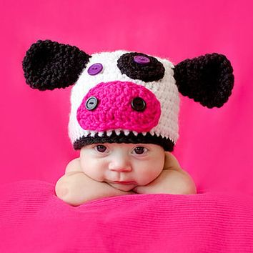 Newborn Photography Props Baby Hat Winter Crochet Knitted Cap Beanie Cute Infants Cow Hat with Ear