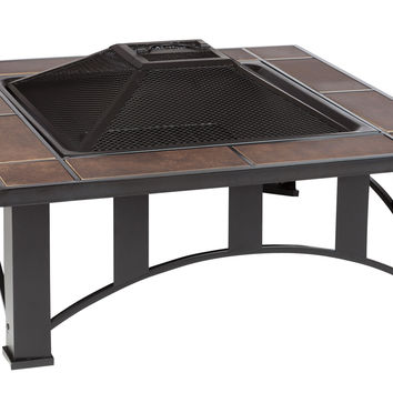 34 in Square Tuscan Tile Top Mission Style Fire Pit