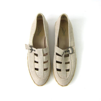 Fabric Sandals Vintage 80s Minimal Canvas & Twine Oatmeal Off White Flats Buff Buckled Women's Ballerina Sandals Size 8.5