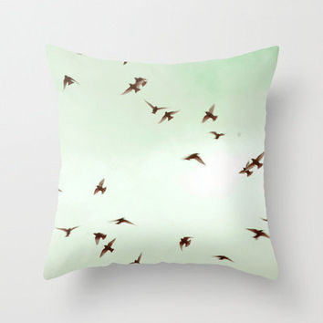 Pillow Cover, Birds, Spring Sky, Photo Pillow, Pale Mint Green Color, Home Decor,  Living Room, Bedroom, 16x16, 18x18