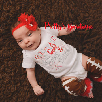 Ohio State inspired girls like bling bodysuit  set with ruffled football leg warmers and headband
