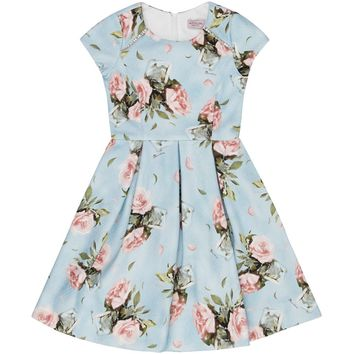 Monnalisa Floral Print Pleated Dress | Harrods