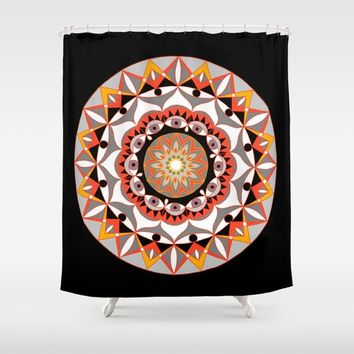 My Solar Plexus Mandhala | Secret Geometry | Energy Symbols Shower Curtain by Azima