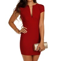 Sale-red Deep V Fitted Tunic
