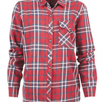 Snow Wash Flannel Shirt - Red Multi