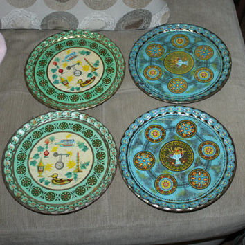 4 Vintage Baret England American Cocktail Trays, Alcohol Resistant, Colorful, 2 Sets w 2 Identical, Beautiful, Barware, Very Collectible
