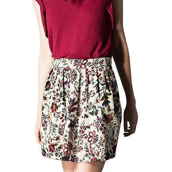 High Waisted Petite Pattern Flowers Skater Skirt