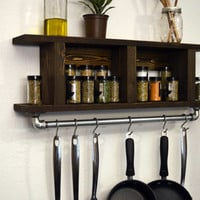 Modern Industrial Kitchen Shelf Pot Rack Wall Spice Rack Utensil Holder Towel Bar Dark Walnut Rustic Wood
