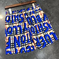BURBERRY Summer Fashionable Plaid Casual Sports Running Beach Shorts Blue