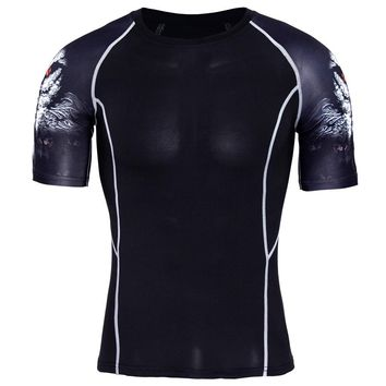 Compression Shirt Splicing Sleeve Fitness Men Wolf Skull Anime 3D T Shirt MMA Short Sleeve Crossfit Bodybuilding Tee Shirt