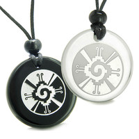 Amulets Love Couple Mayan Unity of All Things Hunab Ku Quartz Black Agate Pendant Necklaces