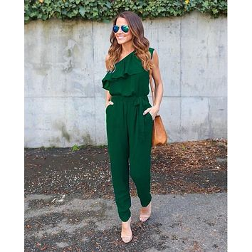 RUFFLED ONE SHOULDER CASUAL CHIC JUMPSUIT