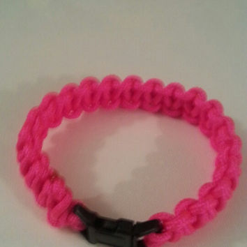 Neon pink paracord parachute cord 550/325 bracelet with survival buckle or regular buckle