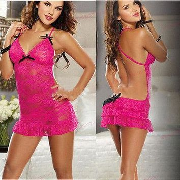Womens Ladies Sexy Rose Lace Dress Intimate Babydoll Sleepwear G-string sleeping dresses