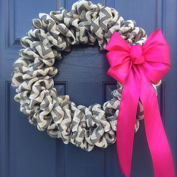 Chevron Burlap Wreath Trendy Wreaths Pink Bow Cute Door Wreaths Chevron Pattern Decor
