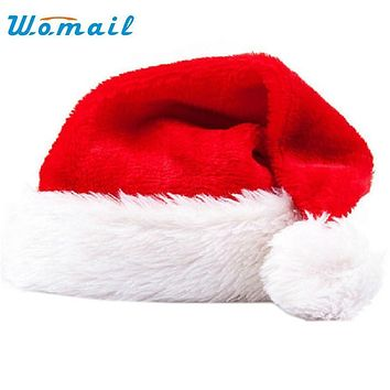 Hot Christmas Hat Soft Warm Santa Headgear Plush Velvet Costume Skullies Beanies Winter Keep Warm Beanie Hats For Kids WOct4