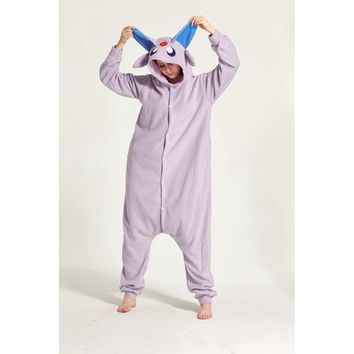 Espeon Animal Pajama Onesuit Hoodie For Adult Women Men Pyjama Pijama Halloween Holiday Sleepwear Fleece Full LengthKawaii Pokemon go  AT_89_9