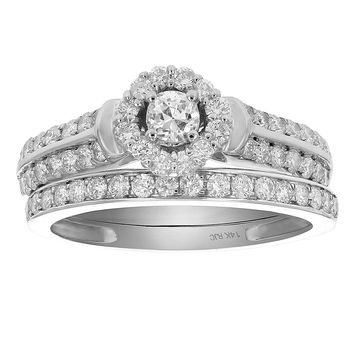 0.73 Carats 7/8 CT Diamond Halo Cluster Wedding Engagement Ring Set 14K White Gold