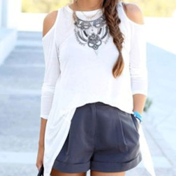 White Backless Cut-Out Sleeve Top
