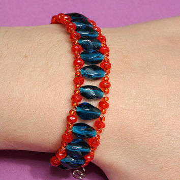 Czech glass beaded bracelet in vivid colors