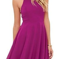 Lovely Sleeveless Open Back Magenta Mini Skater Dress