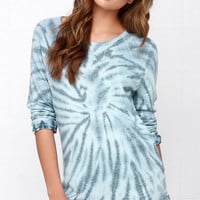 Obey Echo Mountain Blue Tie-Dye Sweater Top