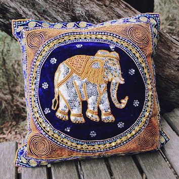 By The Moon - Ganesha Sequin Cushion Cover - Blue