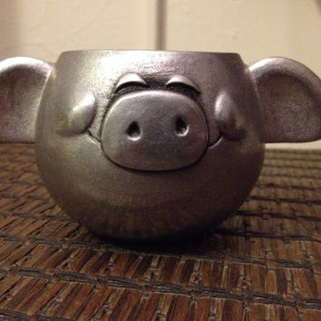Pig Pewter Mug - Collectable Pewter Smiling Pig Rare Find