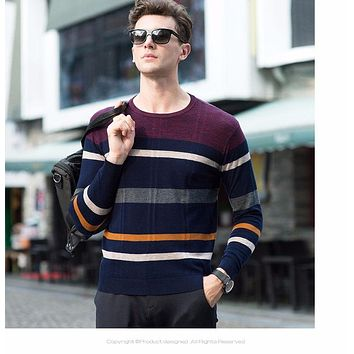 High Quality 100% Real Merino Wool Sweater Men Brand Clothing Knitted Cashmere Sweaters Fashion Striped O-Neck Pullover Men
