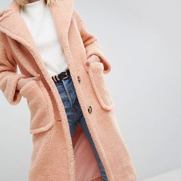 ASOS Coat in Luxe Teddy Borg at asos.com