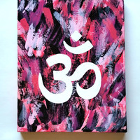 Bohemian hippie Ohm acrylic canvas painting for bedroom, dorm room, or home decor
