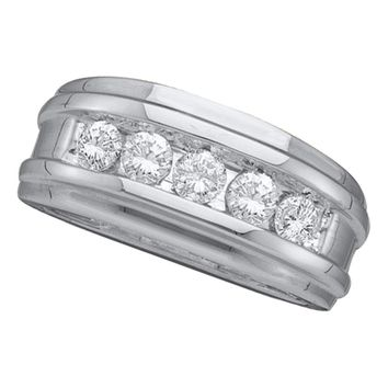 14kt White Gold Mens Round Diamond Wedding Band Ring 1.00 Cttw
