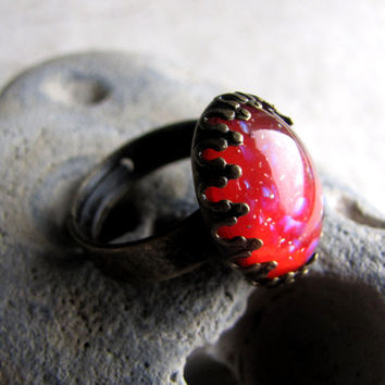 Red Opal Vintage Glass Ring by AshleySpatula on Etsy