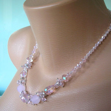 Wedding Jewelry, Pink Crystal Bridal Set, Backdrop Necklace, Pink Bridal Jewelry, Pink Accessories, Cocktail Jewelry, Pink Bead Necklace