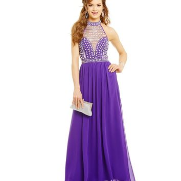 B. Darlin High-Neck Illusion Crystal Bodice Gown | Dillards