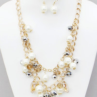 Gold, Topaz, and Cream Cluster Double Strand Necklace