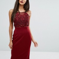 Forever Unique Laced Top Midi Bodycon Dress at asos.com