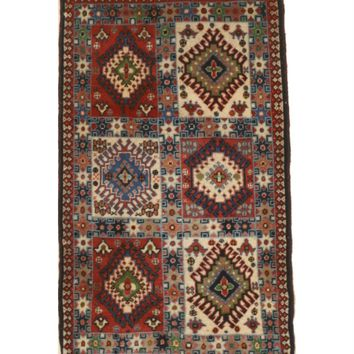 EORC Hand-knotted Wool Ivory Traditional Geometric Yalameh Rug