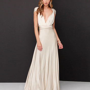 Off White Convertible Wrap Long Dress