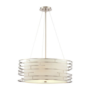Philips 190215836 Labyrinth Satin Nickel Three-Light Incandescent Pendant with White Fabric Shade with Etched Glass Diffuser