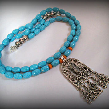Turquoise necklace-blue bead necklace-miao silver necklace-synthetic amber and turquoise bead necklace