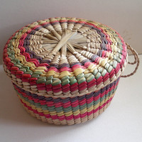 Very Pretty Mexican Colorful Rainbow Weave Hand Woven Basket with Lid