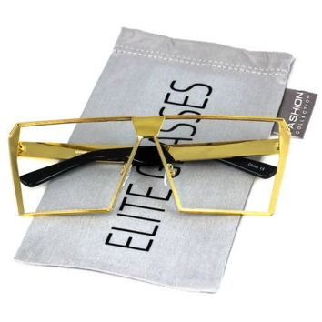 Elite Oversized Flat Top Metal Square Retro Silver Gold Clear Lens Eye Glasses